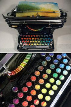 Beautiful!  Tyree Callahan has recycled (or upcycled, perhaps) a classic 1937 Underwood typewriter by replacing letters with sponges soaked across the spectrum with bright yellows, reds, blues and combinations thereof.