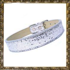 Disco fever dog collar, sparkly silver collar,  | Prince and Princess Designer Petwear