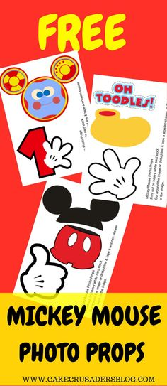 How to make Mickey Mouse Photo Props with FREE printables included by Cake Crusaders Blog