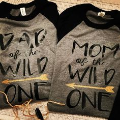 "Shipping this morning to ""Mom of the Wild One"" and ""Dad of the Wild One"" Raglans Wild One Birthday Party, Twin First Birthday, Boy Birthday Parties, Baby Party, Baby Birthday, Birthday Ideas, Wild Ones, Wild Things, 1st Birthdays"
