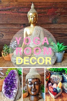 Yoga room decor including buddha statues healing crystals elephant statues and more all on my Lovingthyself etsy store! These are also great for meditation rooms or spaces home decor garden decor office decor and boho rooms! Yoga Room Decor, Meditation Room Decor, Meditation Corner, Meditation Altar, Meditation Cushion, Meditation Space, Daily Meditation, Home Yoga Room, Zen Space