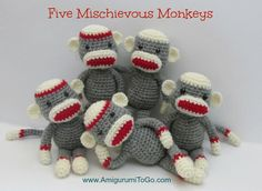 Five Mischievous Monkeys! This is the sock monkey I designed for the wheelchair pattern. It fits perfectly in the chair. Once the wheelchair pattern is ready then the monkeys will get injuries, haha o