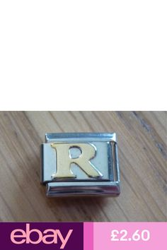 Italian Charms - Gold Letters Letter R Fits Classic Size Italian Charm Bracelet Nomination Bracelet, Jewelry Bracelets, Jewellery, Gold Letters, Charmed, Lettering, Watches, Classic, Accessories