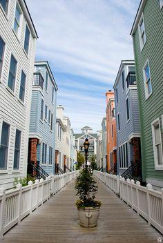 A row of symmetrical beach houses.  Charleston, South Carolina.  04/13/2008.