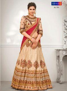 56d8cd3c47 Womens Party Wear Beige Pure Banarasi Natural Silk Digital print with Heavy  Zari resham embroidery and Stone Work Semi Stitched Lehenga Choli with Beige  ...