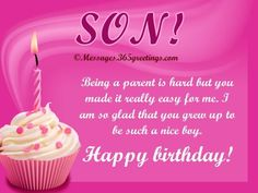 Son Being A Parent Is Hard But You Made Is Really Easy For Me. I Am So Glad That You Grew Up To Be Such A Nice Boy Happy Birthday