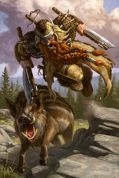 Dwarf ranger with long red beard, wearing leather armor and helmet, wielding two single bladed axes and running alongside a boar companion.