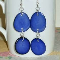 Royal Blue Tagua Nut Slice Sterling Silver Earrings by DolphinMoonCreations #etsyjewelry #taguaearrings #blueearrings