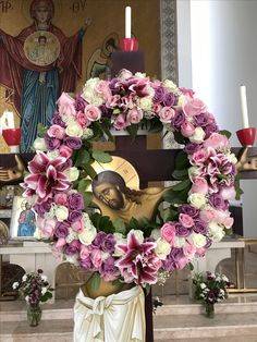 Holy Thursday crucifixion wreath 2017 Altar Flowers, Church Flowers, Wedding Flowers, Holy Thursday, Orthodox Easter, Orthodox Christianity, Holy Week, Orthodox Icons, God Jesus
