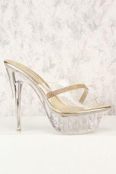 Sexy Gold Clear Rhinestone Accent Peep Toe Platform Pump High Heels Faux Leather High Heel Pumps, Pumps Heels, Stiletto Heels, Rose Gold Heels, Peep Toe Platform, Prom Shoes, Spring Shoes, Womens High Heels, Leather