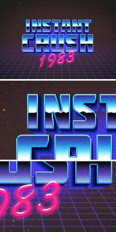 80s Retro Typography Effect レトロ・フューチャー系の文字テキストは、スマートオブジェクト機能を利用した、お手軽編集も魅力的