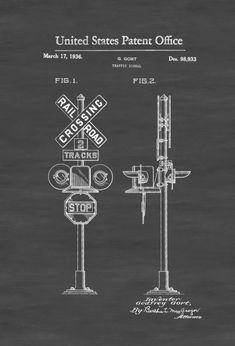 Railroad Crossing Sign Patent 1936 - Locomotive Trains Railroad Railroad Decor Model Trains Train Decor by PatentsAsPrints Model Training, Train Art, Hobby Trains, Model Train Layouts, Patent Prints, Models, Classic Toys, Locomotive, How To Plan