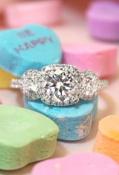 42 Ideas For Vintage Engagement Rings Three Stone Halo Popular Engagement Rings, Three Stone Engagement Rings, Halo Diamond Engagement Ring, Halo Rings, Engagement Ring Settings, Vintage Engagement Rings, Diamond Rings, Solitaire Rings, Stone Rings