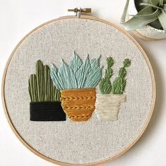 cactus embroidery hoop Made to Order *Three Amigos* Three darling potted cactus plants, hand-stitched in cotton thread on natural onasburg fabric, set in a 7 Cactus Embroidery, Wooden Embroidery Hoops, Learn Embroidery, Hand Embroidery Stitches, Embroidery Patches, Modern Embroidery, Embroidery Hoop Art, Hand Embroidery Designs, Embroidery Techniques