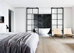 Open Bathroom Concept: The Hottest Design Trend for the Master Bedroom - SA Decor & Design Open Plan Bathrooms, Open Bathroom, Bathroom Layout, Bathroom Wall, Master Bedroom Bathroom, Bedroom Small, Master Bedrooms, Bathroom Ideas, Design Loft