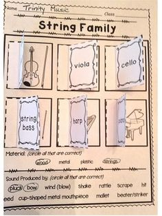 Instrument Family Window Worksheets (Matching) by TrinityMusic Kindergarten Music, Teaching Music, Music Lesson Plans, Music Lessons, Elementary Music, Elementary Teacher, General Music Classroom, Future Classroom, Music Journal