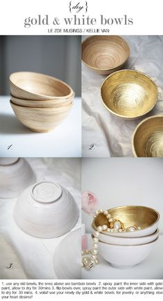 diy gold and white bowls