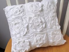 Tee shirt knit roses, gathered pillow top.