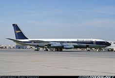 B.O.A.C. Boeing 707-436 Aircraft. (On its way to being transferred over to British Airways.)