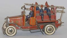 German Tin Litho Wind-Up Fire Ladder Truck Toy.