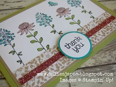 Julie Kettlewell - Stampin Up UK Independent Demonstrator - Order products 24/7: Flowering Fields Thank You