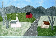 Mountain Handmade Fabric Postcard Quilted Greeting by SewUpscale, $12.00
