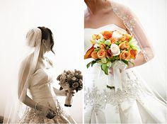 Green, orange and white wedding bouquet.  www.mikiandsonja.com