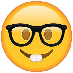 Show off your nerdy side with this buck-toothed and bespectacled emoji.