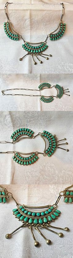 Other Ethnic Regional Jewelry 288: Vintage Turquoise Necklace, Sterling Silver, Handcrafted, Zuni, Signed -> BUY IT NOW ONLY: $200 on eBay!