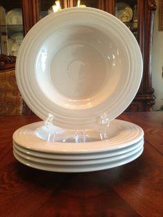 "Set of 5~Homer Laughlin FIESTA WHITE (CONTEMPORARY) 12"" Pasta Bowls"