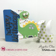 SVG Attic: Dino time with Angeline - JGW Dino party Dinosaur card and cupcake wrapper #svgattic