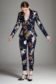 Navy Floral Ponte Suit Jacket : A fun twist on a classic slim fit cut suit jacket. Stand out this season with this one of a kind floral suit that has subtle metallic details. Fashion 2020, Love Fashion, Fashion Outfits, Holiday Suits, Preppy Style, My Style, Culottes, Suits For Women, Dress To Impress