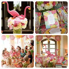Let's Flamingle! Lilly Pulitzer inspired Luncheon.  Fun bridal shower idea.