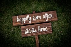 """Rustic Wedding Signs, """"happily ever after starts here"""" -$55.00"""
