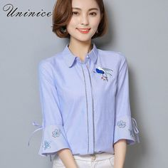 Buy now UNINICE Bird Embroidery Blouse Shirt Women's Clothing OL Summer Korean Style Cotton Flare Sleeve Blue Shirt Women Blouse 2017 just only $11.99 with free shipping worldwide  #womanblousesshirts Plese click on picture to see our special price for you