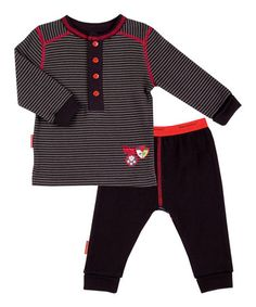 This Black & Red Stripe Academy Organic Tee & Pants by Kushies is perfect! #zulilyfinds
