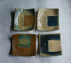 Textured+Sushi+Squares++Set+of+4+in+by+stonesthrowceramics+on+Etsy,+$24.00