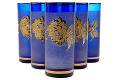 One Kings Lane - Gilt Floral & Cobalt Tumblers, S/6