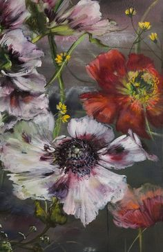 PAINTING – Claire BASLER Art Floral, Flower Images, Flower Art, Gold Leaf Art, Botanical Art, Colorful Pictures, Painting Inspiration, Painting & Drawing, Art Drawings