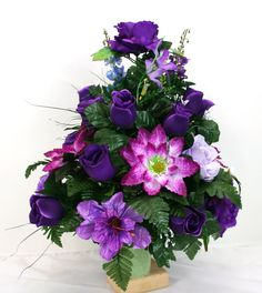 Beautiful Summer Cemetery Vase Flower Arrangement Featuring Purple Roses by Crazyboutdeco on Etsy Grave Flowers, Cemetery Flowers, Funeral Flowers, Silk Flowers, Easter Flower Arrangements, Flower Vases, Flower Pots, Cemetary Decorations, Cemetery Vases