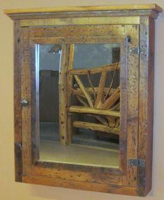 Vintage Wooden Bathroom Medicine w/ Beveled Mirror