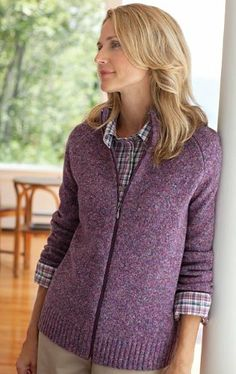 $98.00 awesome Orvis Women's Purple-tweed Zip-front Cardigan