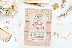 Shabby Chic Floral Shower Invitation- Printable- Digital File- DIY by 4414Designs on Etsy