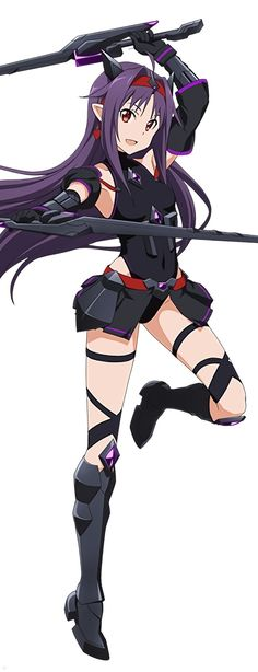 Sword Art Online, Yuuki (Kuroyukihime cosplay), official art – Anime Characters Epic fails and comic Marvel Univerce Characters image ideas tips Otaku Anime, Manga Anime, Arte Online, Online Art, Asuna, Sword Art Online Yuuki, Sword Art Online Cosplay, Fantasy Character, Accel World