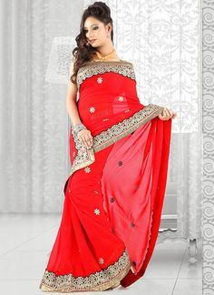 Sizzling Red Georgette Saree