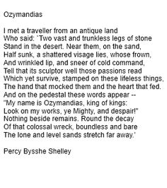 ozymandias critical essay Percy shelley: poems study guide contains a biography of percy bysshe shelley, literature essays, a complete e-text, quiz questions, major themes, characters, and a full summary and analysis.