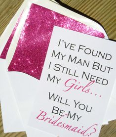 Be My Bridesmaid Cards // Fuchsia Glitter by PinkChampagnePaper, $4.00 Pink Champagne Paper- Be My Bridesmaid Card, I Need My Girls, Pink Glitter Envelopes @PinkCPaperCo #bofriday http://www.etsy.com/...