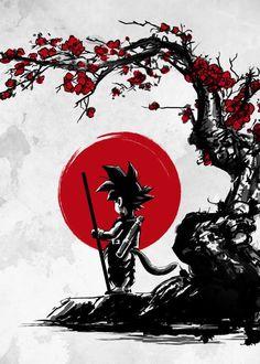 Displate Poster Saiyan under the sun goku <<< Wow! I have a shirt with this pic on it and I was caught way off guard by seeing this now. Dragon Ball Gt, Goku Dragon, Dragonball Anime, Tatoo Manga, Manga Japan, Super Anime, Kid Goku, Creation Art, Animes Wallpapers