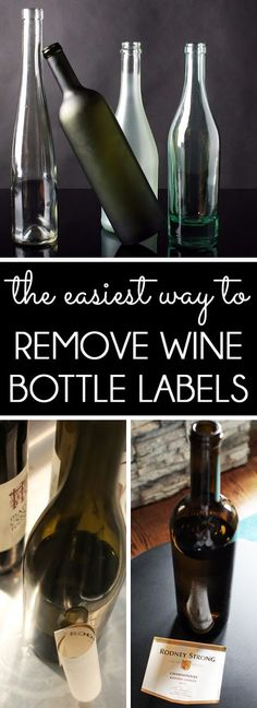 The fastest way to remove labels from wine bottles or glass jars with no mess and without tearing the labels. Perfect for wine bottle upcycle DIYs or craft projects that reuse the labels (Bottle Label) Remove Wine Bottle Labels, Remove Labels, Wine Bottle Label Removal, Glass Bottle Crafts, Wine Bottle Art, Decorative Wine Bottles, Painting Wine Bottles, Crafts With Wine Bottles, Reuse Wine Bottles