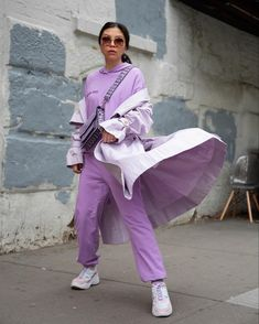 Purple Outfits, Trendy Outfits, Trendy Fashion, Monochrome Outfit, Fashion Bloggers, Kicks, Clothes For Women, Coat, Green